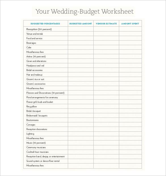 Wedding Budget Sheet Printable shop fresh
