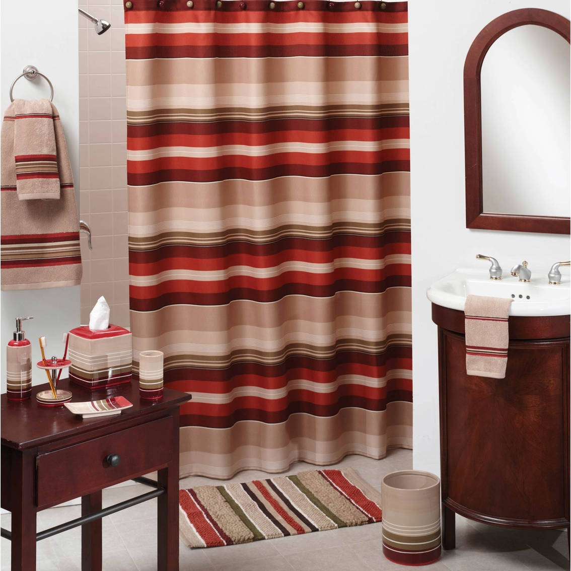 Red And Brown Shower Curtain Saturday Knight Madison Stripe Red Shower Curtain Shower