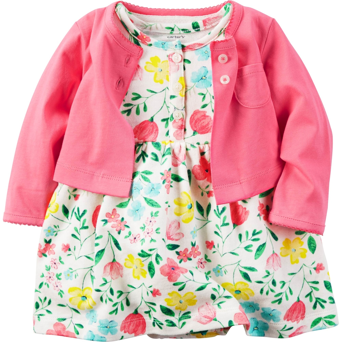 Infant Baby Products Online Shopping Carter 39;s Infant Girls White Floral Dress Pink Cardigan