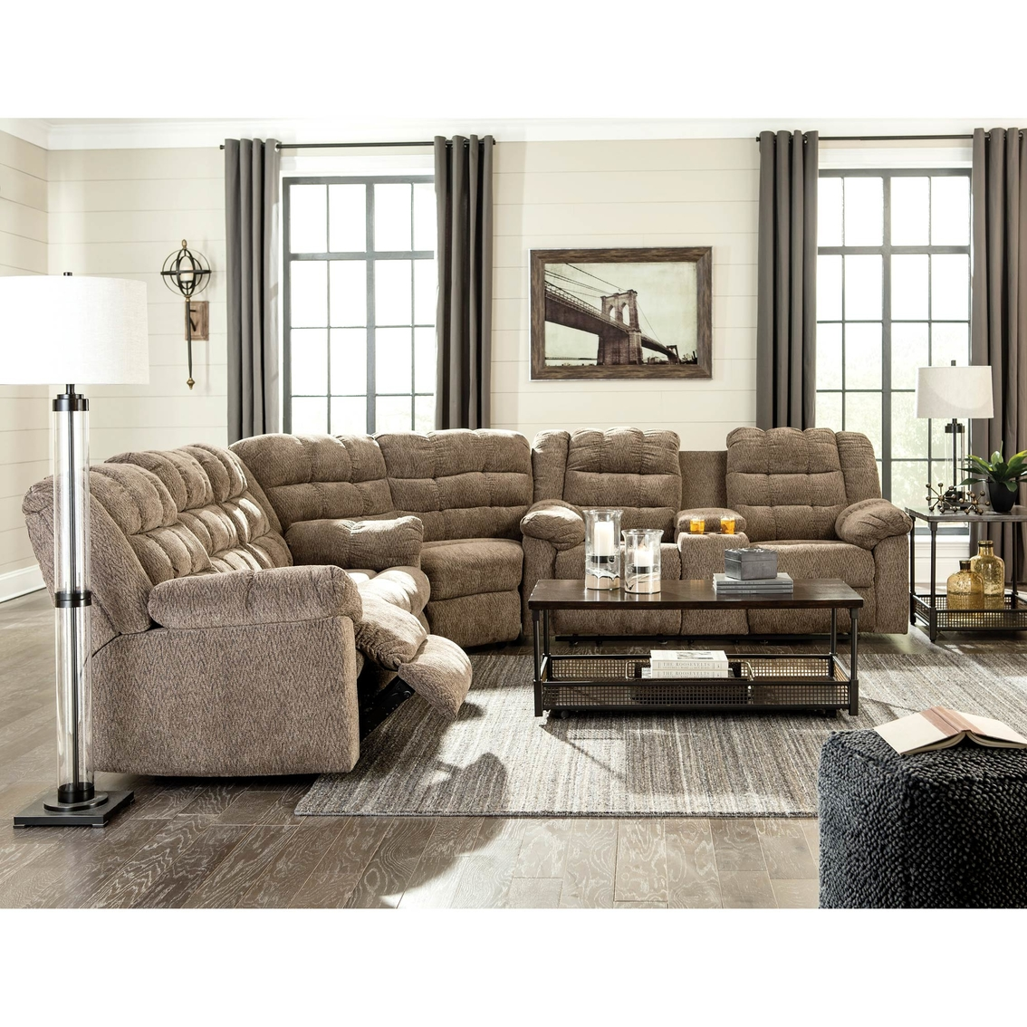 Couches 4 Ashley Workhorse Reclining Sectional With 4 Recliners Sofas