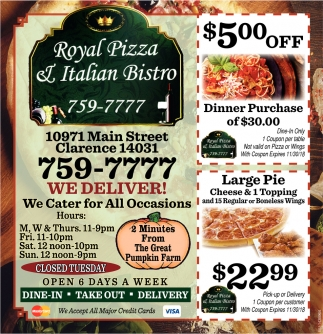 Bistro Italian Restaurant 5 00 Off Royal Pizza And Italian Bistro Clarence Ny