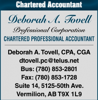 Chartered Accountant Cpa Chartered Accountant Deborah A Tovell Cpa Cga Vermilion Ab