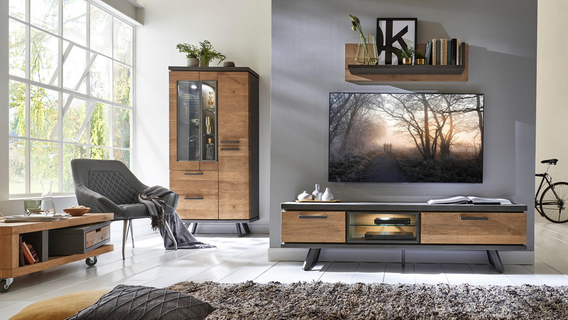 Industrial Style Tv Möbel Holz Geolt Mobel Units Teak Wohnzimmer