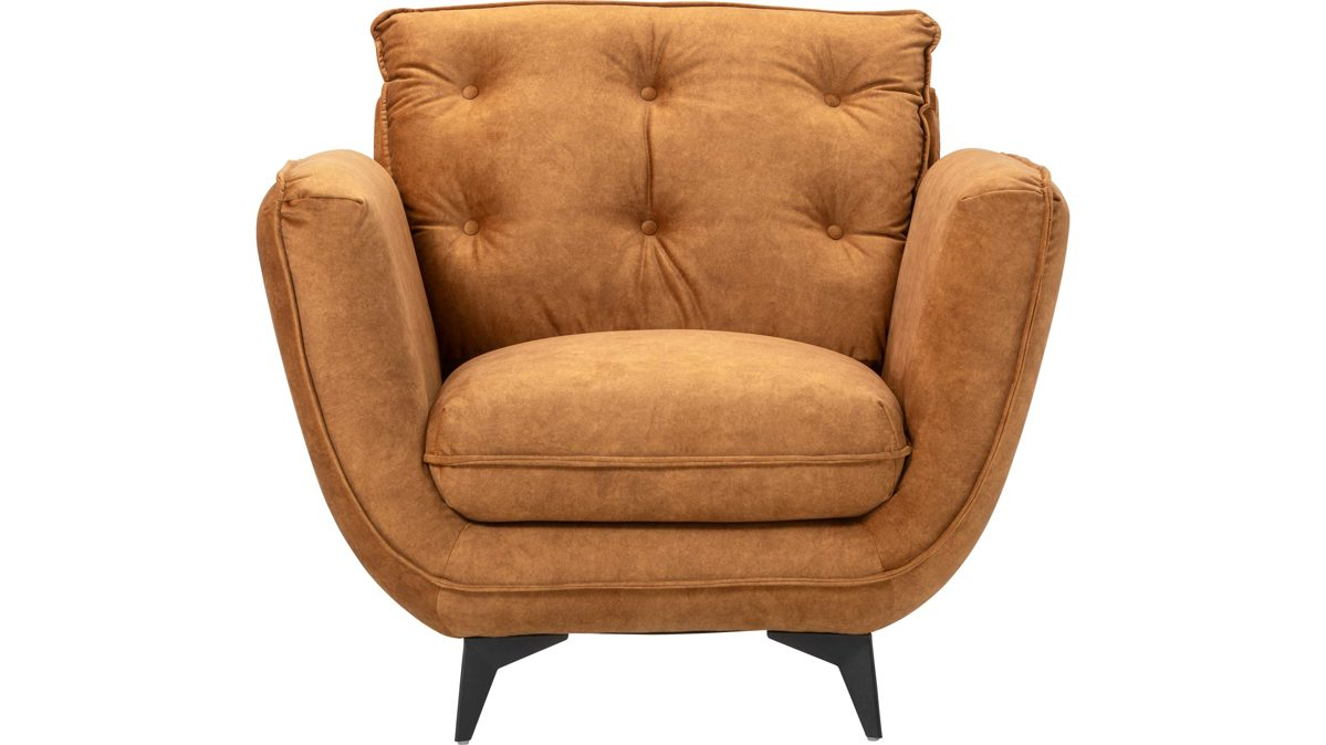 Couch Sessel Einrichtungspartnerring, Möbel A-z, Sofa + Couch, Alle Sofa + Couch, 2, Dreisitzer, Polsterhocker, Polstersessel, Sessel, Polstersessel Stockholm, Golden Orangefarbener Samtvelours Amour 5508 & Mattschwarze Metallfüße