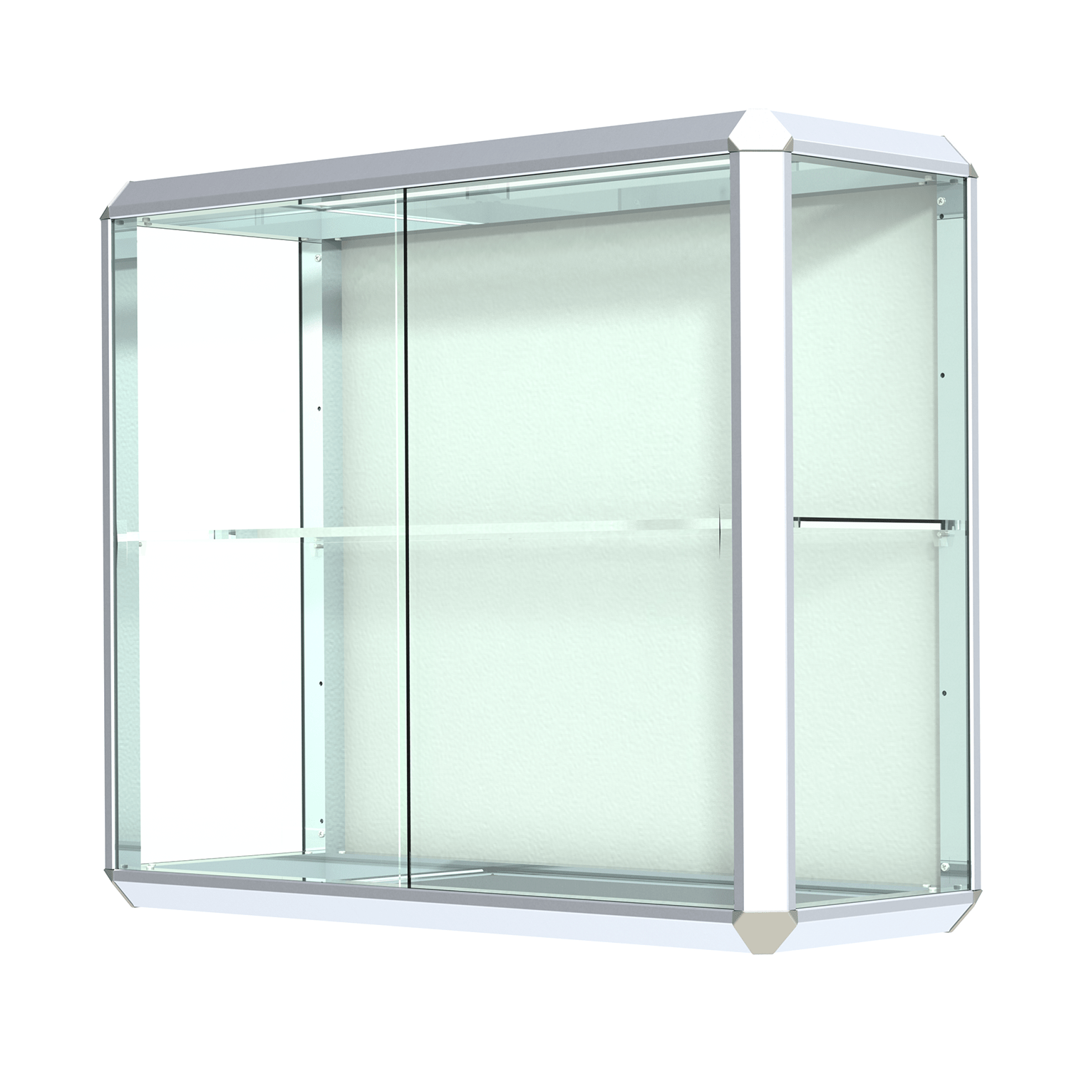 Wall Mounted Display Case Chrome Finished Aluminum Frame Wall Mount Display Case With Shelf
