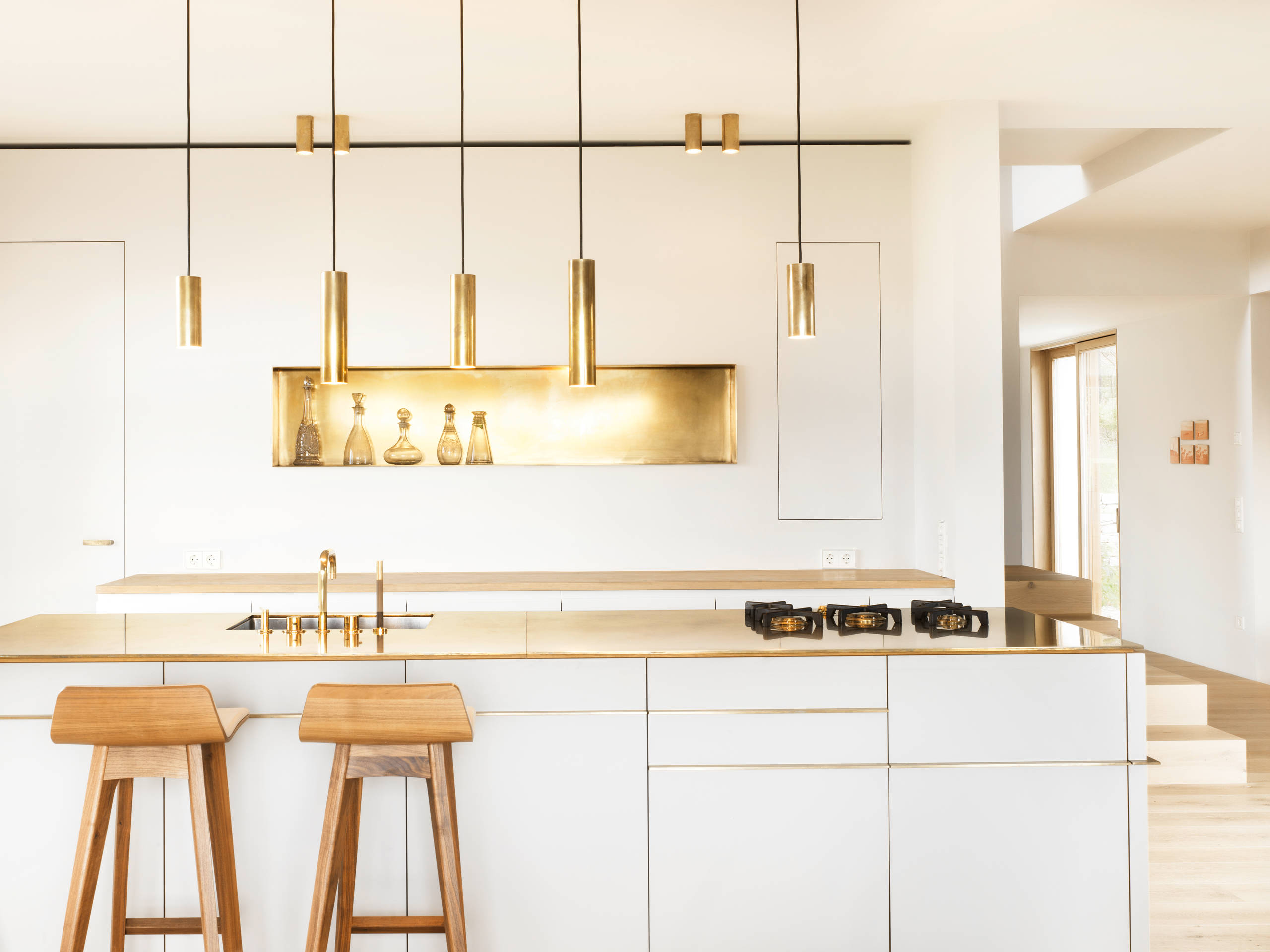 contemporary modern kitchen gold countertop hardware lighting brass metal scandinavian nordic swedish backsplash modern golden kitchen cabinets ikea