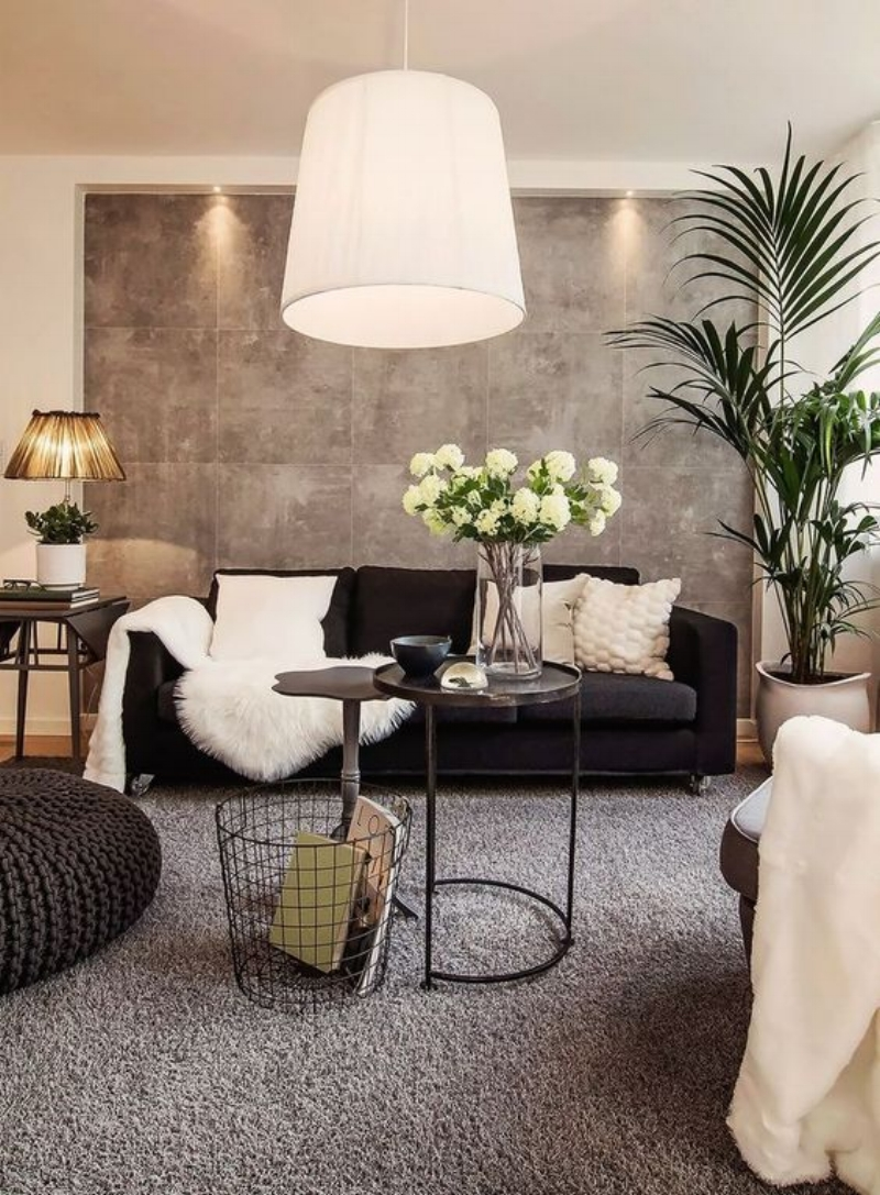 Black And Beige Living Room Brown Walls Velvet Couch White Fox Lamb Fur Carpet Warm Tones Modern Design Condo Apartment Inspiration Luxury Shop Room Ideas