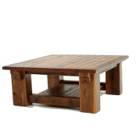 Stony Brook Timber Frame Barnwood Coffee Table with Shelf