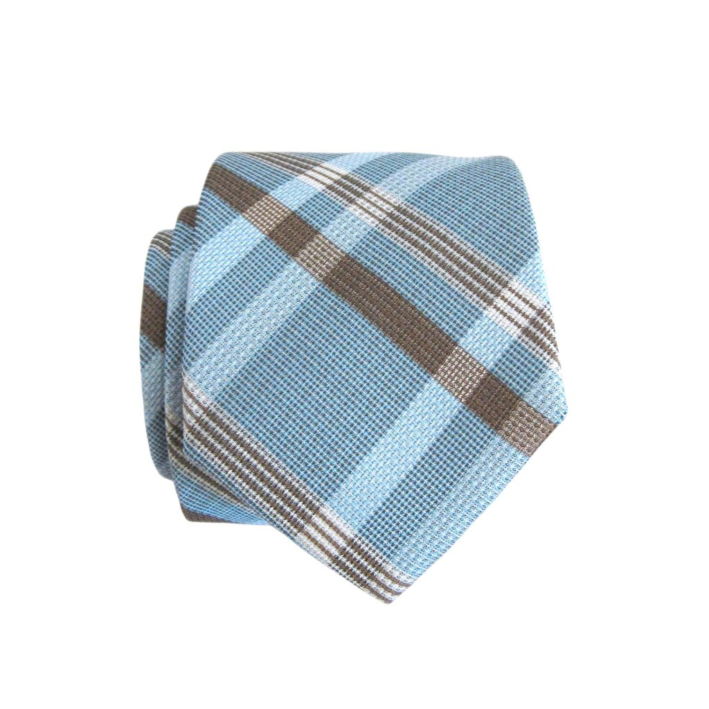 Plaid Taupe French Blue Taupe Plaid Skinny Men S Tie W Pocket Square 3358