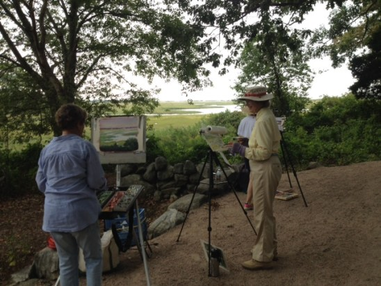 Painters work on pieces along the Hammonasset Beach State Park section of the Shoreline Greenway Trail in Madison