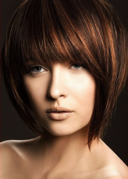 Short Choppy Layered Bob Hairstyles with Bangs