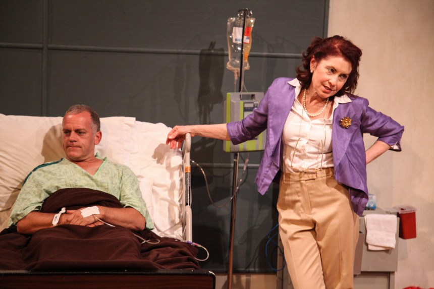 (left to right) Scott Olson and Susan Fay in AstonRep Theatre's Chicago premiere of THE LYONS by Nicky Silver, directed by Derek Bertelsen.  Photo by Emily Schwartz.