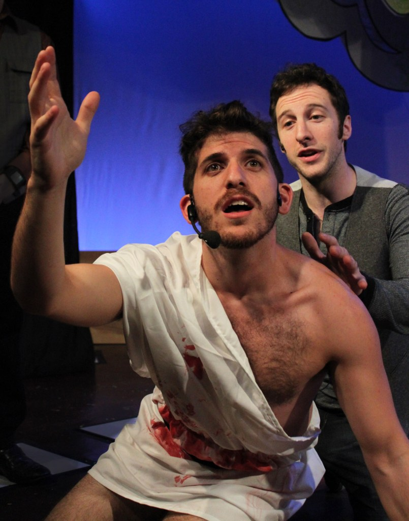 (left to right) Jonas Davidow and Max DeTogne in Underscore Theatre Company's world premiere musical comedy THE STORY OF A STORY (THE UNTOLD STORY) with book and lyrics by Peter Gwinn, music by Jody Shelton and direction and choreography by Christopher Pazdernik.  Photo by Alex Higgin-Houser
