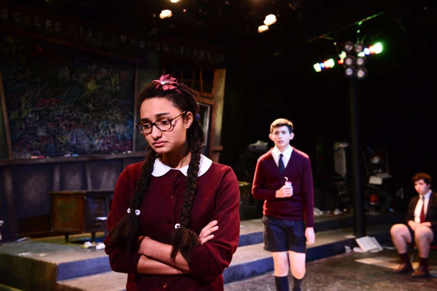 """(left to right) Hunter Dunn, Justin Burns and Brian Baren in The Hypocrites' THE 4TH GRADERS PRESENT AN UNNAMED LOVE-SUICIDE by Sean Graney, co-directed by Joel Ewing and Mechelle Moe, a collaboration with Senn Arts Magnet High School's """"The Yard."""" Photo by Evan Hanover."""