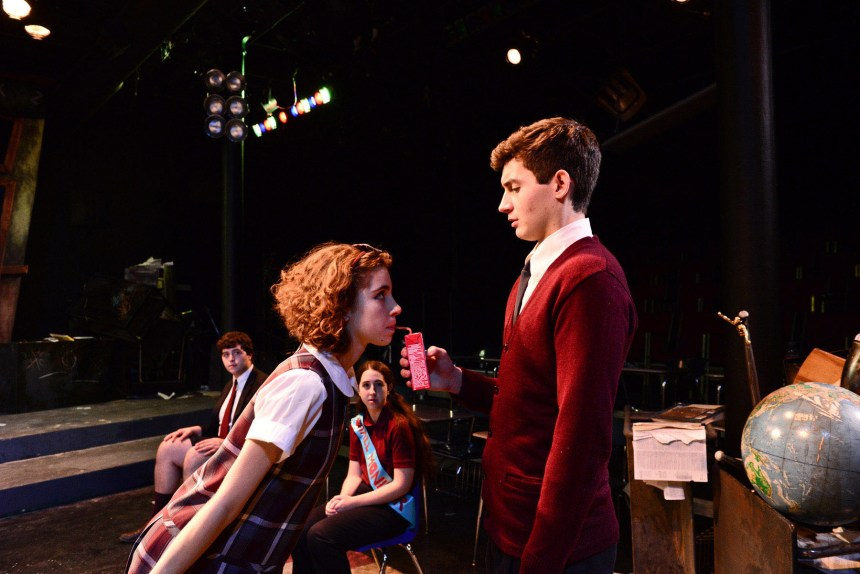 """(front, l to r) Olivia Shine and Justin Burns with (back, l to r) Brian Baren and Heather Lauritzen in The Hypocrites' THE 4TH GRADERS PRESENT AN UNNAMED LOVE-SUICIDE by Sean Graney, co-directed by Joel Ewing and Mechelle Moe, a collaboration with Senn Arts Magnet High School's """"The Yard."""" Photo by Evan Hanover."""