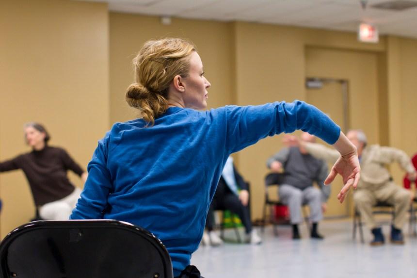 Founding Teaching Artist and Hubbard Street alumna Sarah Cullen Fuller leads a Parkinson's Project class at the Hubbard Street Dance Center. Photo by Todd Rosenberg.