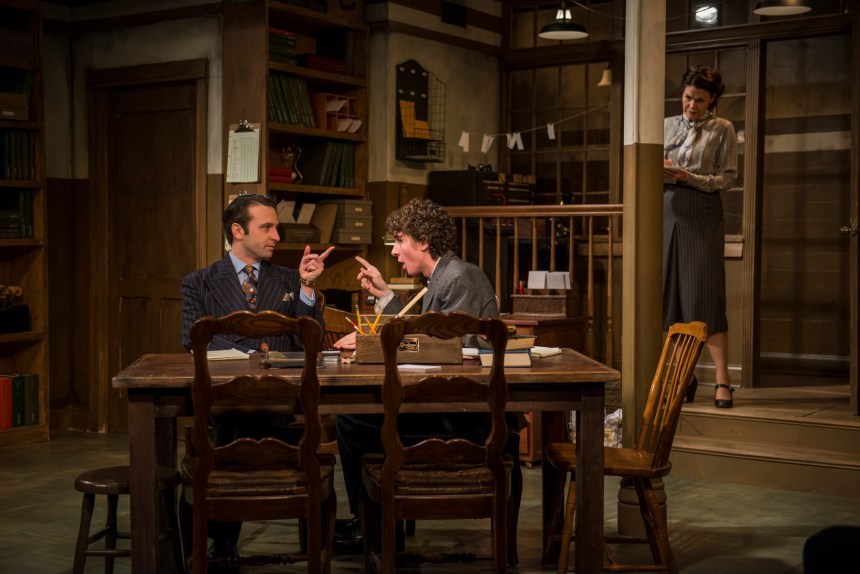 Nick Freed, Michael Saguto and Vanessa Greenway in Griffin Theatre Company's Midwest premiere of LONDON WALL by John Van Druten, directed by Robin Witt.  Photo by Michael Brosilow.