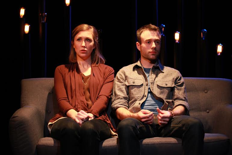left to right) Bergen Anderson and Dan Wilson in Akvavit Theatre's U.S. premiere of NOTHING OF ME, by Arne Lygre, co-directed by Chad Eric Bergman and Breahan Eve Pautsch. Photo by Emily Schwartz.