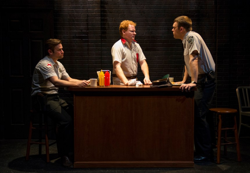 Brian Scannell, Steve Peebles and Drew Schad in Shattered Globe Theatre's production of IN THE HEAT OF THE NIGHT, adapted by Matt Pelfrey, based on the novel by John Ball and directed by Louis Contey. Photo by Michael Brosilow.