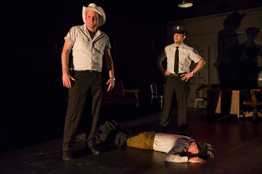 Joseph Wiens, Tim Newell and Drew Schad in Shattered Globe Theatre's production of IN THE HEAT OF THE NIGHT, adapted by Matt Pelfrey, based on the novel by John Ball and directed by Louis Contey. Photo by Michael Brosilow.