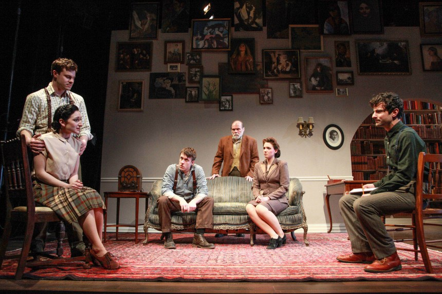 (left to right) Curtis Edward Jackson, Jessica Kingsdale, Matt Mueller, Craig Spidle, Eliza Stoughton and Nik Kourtis in the Midwest premiere of A SPLINTERED SOUL by Alan Lester Brooks, directed by Keira Fromm. Photo by Emily Schwartz.