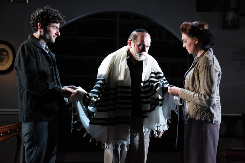 (left to right) Nik Kourtis, Craig Spidle and Eliza Stoughton in the Midwest premiere of A SPLINTERED SOUL by Alan Lester Brooks, directed by Keira Fromm. Photo by Emily Schwartz.