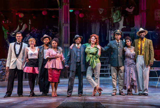 "Will Skrip (from left), Amy Orman, Justin Keyes, Donica Lynn, Sean Blake, Meghan Murphy, Chris Sams, Carrie Abernathy and Tyrone L. Robinson in the Drury Lane Theatre production of ""Smokey Joe's Cafe."" (Photo: Brett Beiner)"