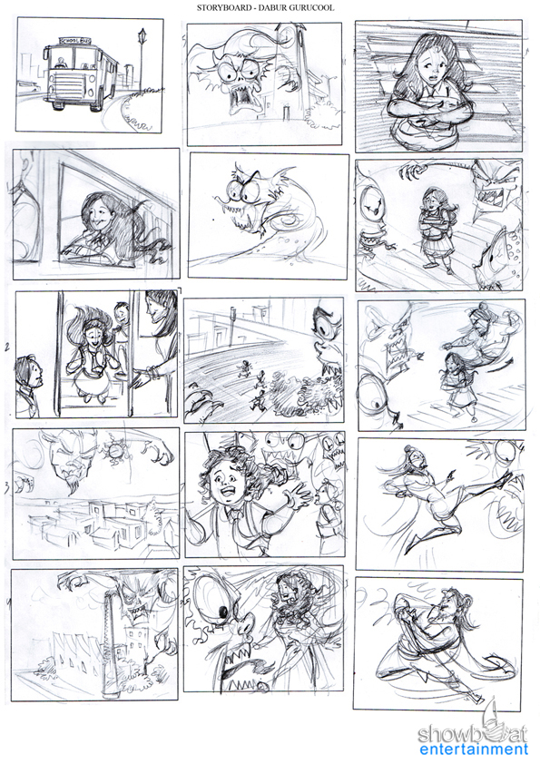 Rough toned pencil storyboards Storyboard - commercial storyboards