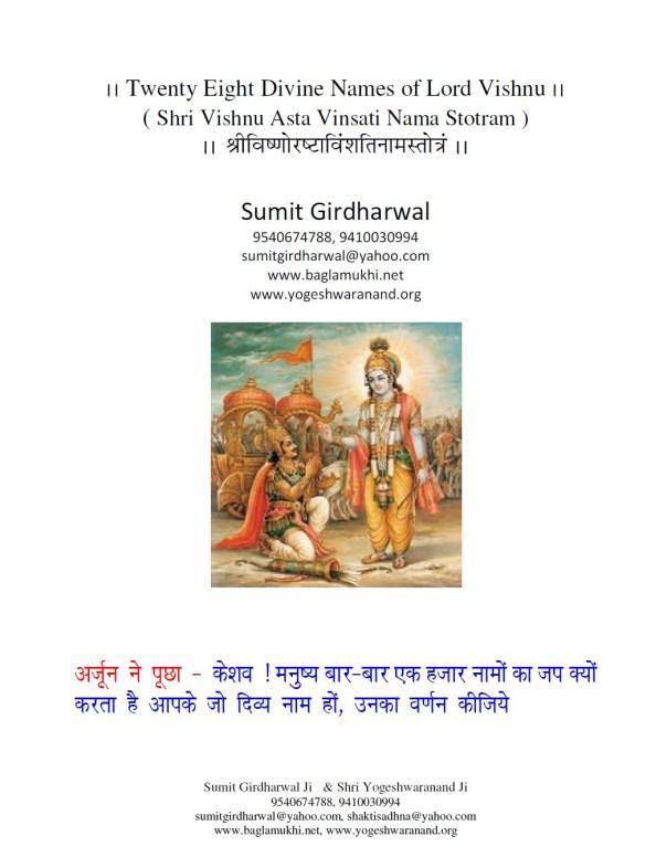 Twenty Eight Names of Lord Vishnu Part 1