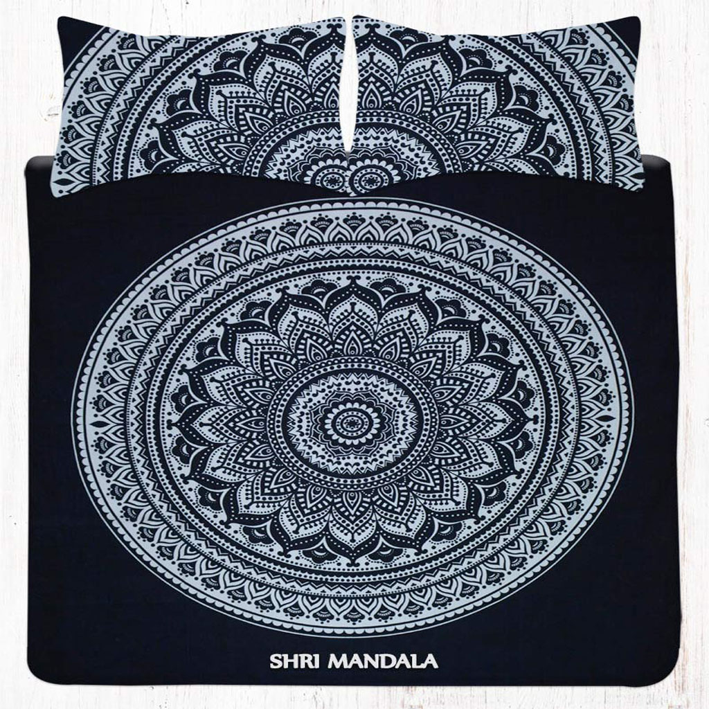 Boho Bedding Australia Black And White Floral Mandala Bed Set With Two Pillow