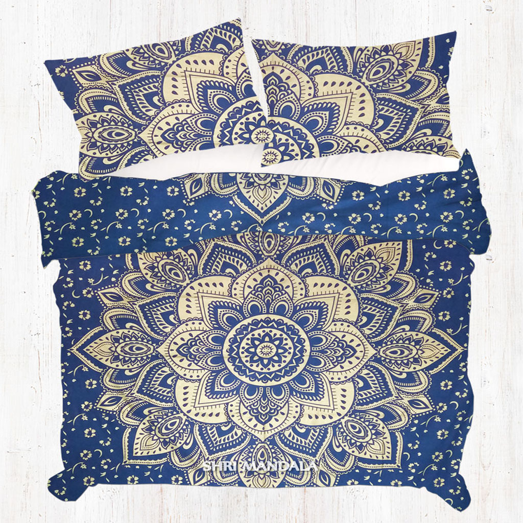 Boho Quilt Covers Australia Blue Golden Gold Queen Size Hippie Mandala Duvet Cover Set