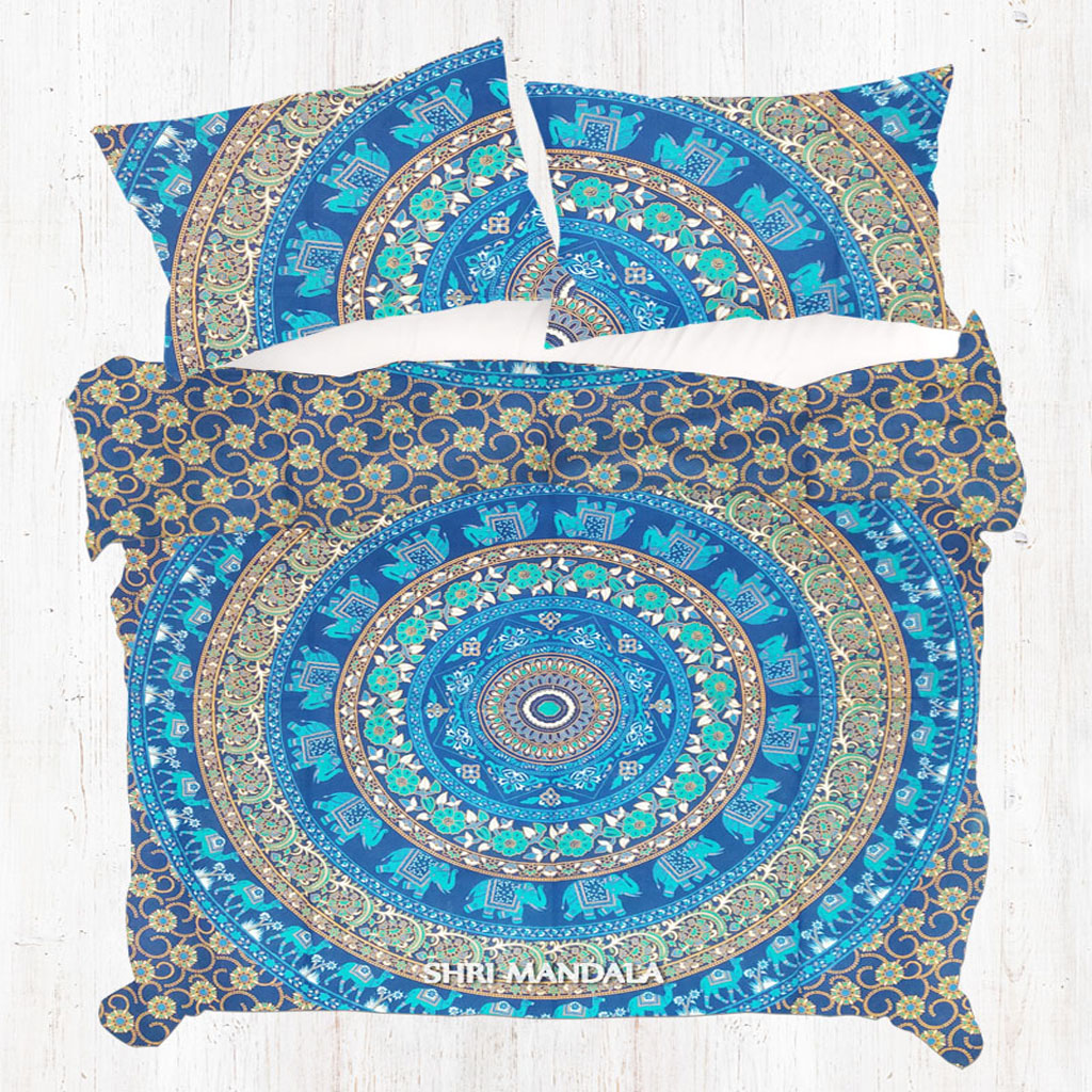 Boho Quilt Covers Australia Blue Base Green Camel Elephant Floral Twin Mandala Duvet Cover