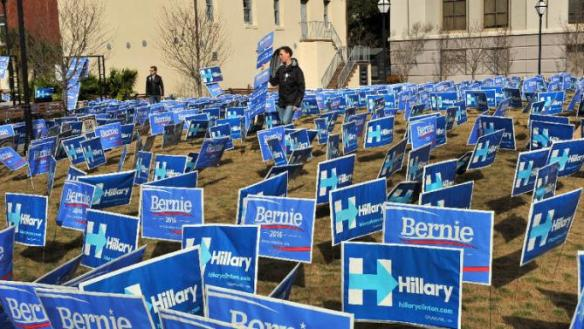 bernie and hillary signs (multiple)