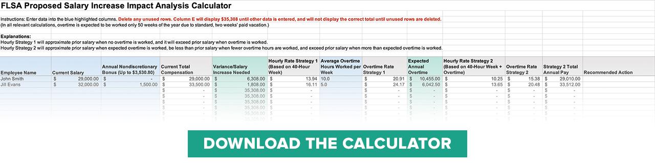 FLSA Proposed Salary Increase Impact Analysis Guide and Calculator