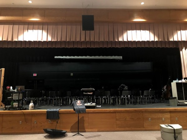 The Southmoreland High School auditorium transformed into a band rehearsal space. Date of photo: September 10
