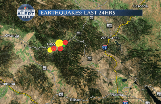 Map of Lincoln, Montana's earthquake activity