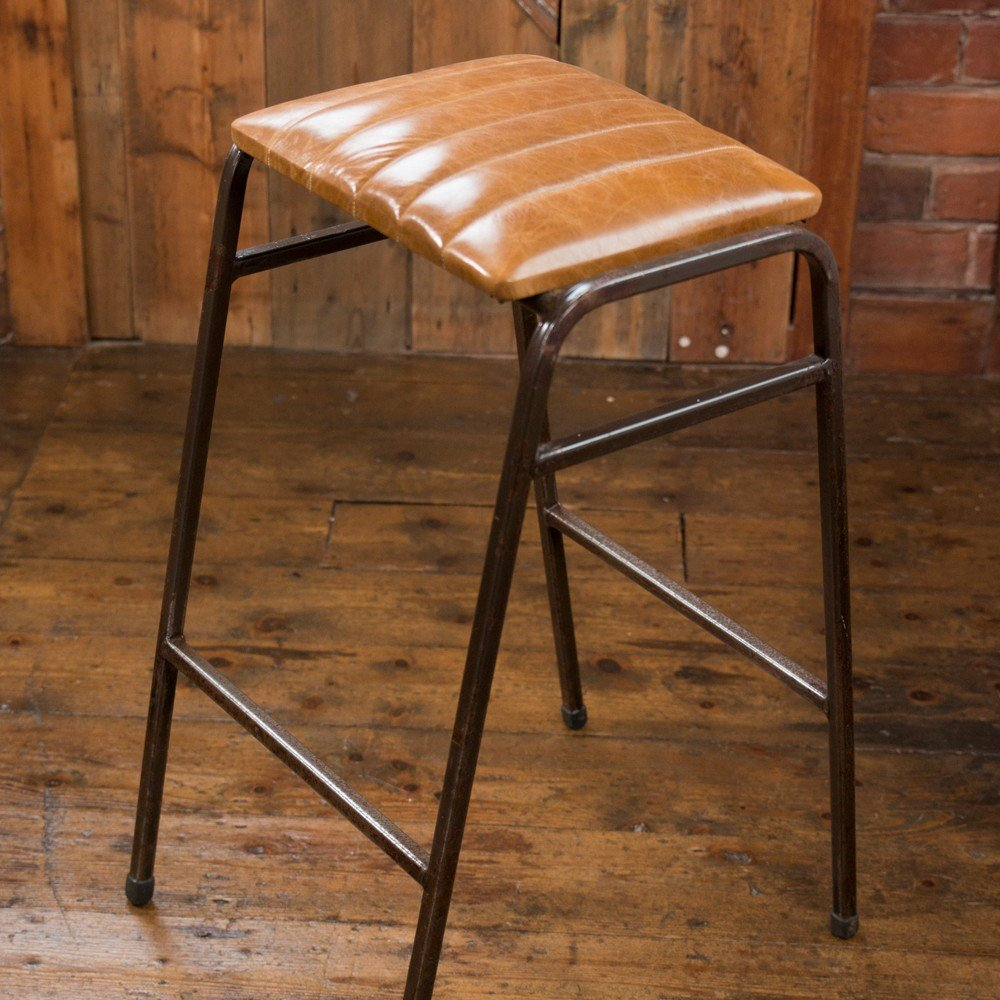 Industrial Vintage Vintage Retro Industrial Science Lab Bar Stool With Fluted Tan Leather Seat