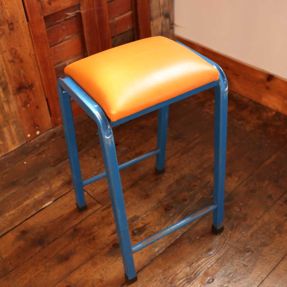 Industrial Vintage Four Vintage Retro Industrial Science Lab Stool With Orange Italian Leather Seat