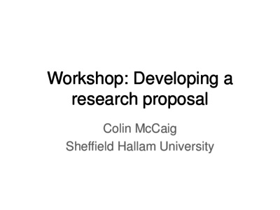 Developing a research proposal - Sheffield Hallam University