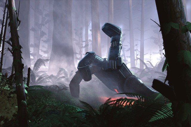 "A scene from a new virtual-reality film from Oculus called ""Lost"" shows a robotic hand moving through a forest."