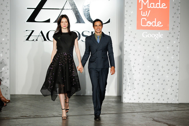 Designer Zac Posen, right, with fashion model Coca Rocha wearing the LED dress.