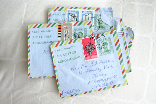 Airmail letters from Ethiopia where Alistair Hughes lived as a child.