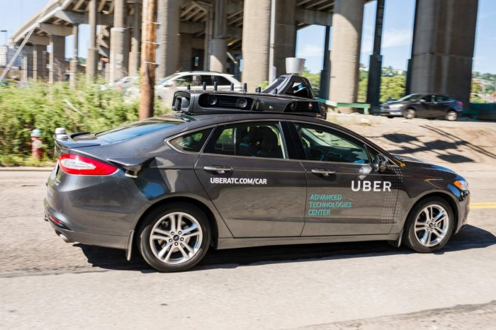 A pilot model of an Uber self-driving car in Pittsburgh in September 2016. Uber launched a groundbreaking driverless car service, stealing ahead of Detroit auto giants and Silicon Valley rivals with technology that could revolutionize transportation.