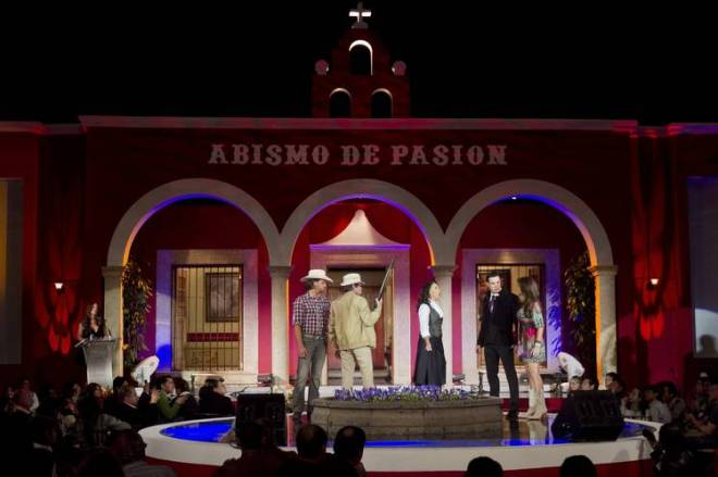 The cast of the telenovela 'Abismo de Pasion' or 'Abyss of Passion' perform a scene in 2012.