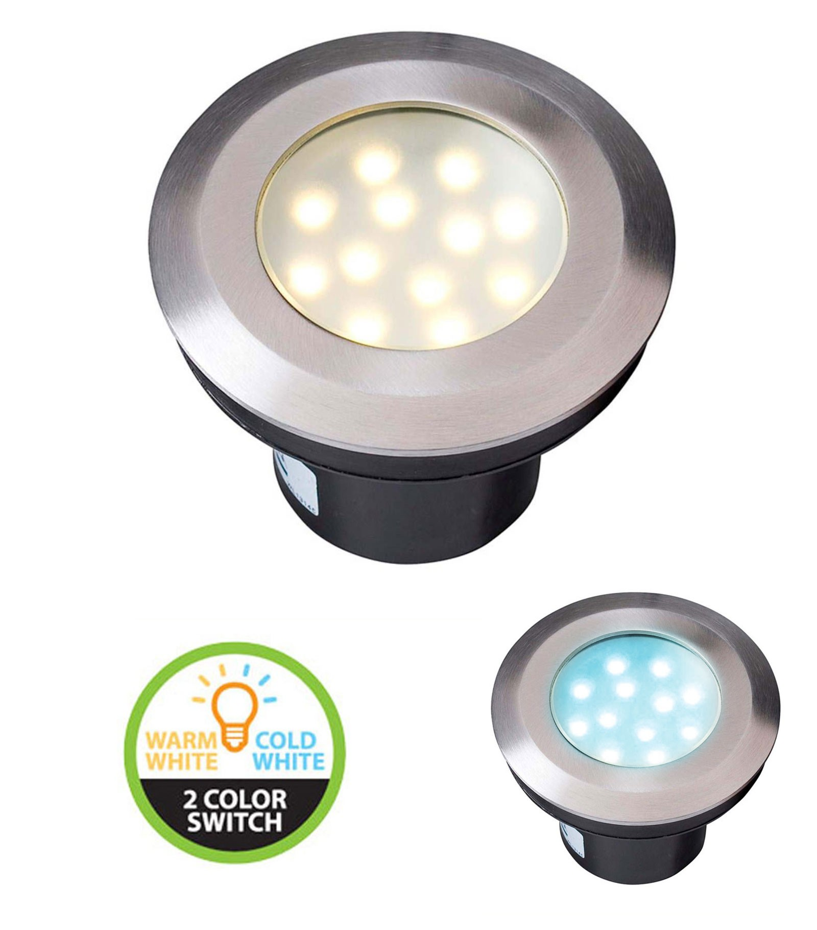 Eclairage Exterieur Led 12 Volts Spot Encastrable Gavia 2w Platine Led Ip67 Blanc Chaud Blanc