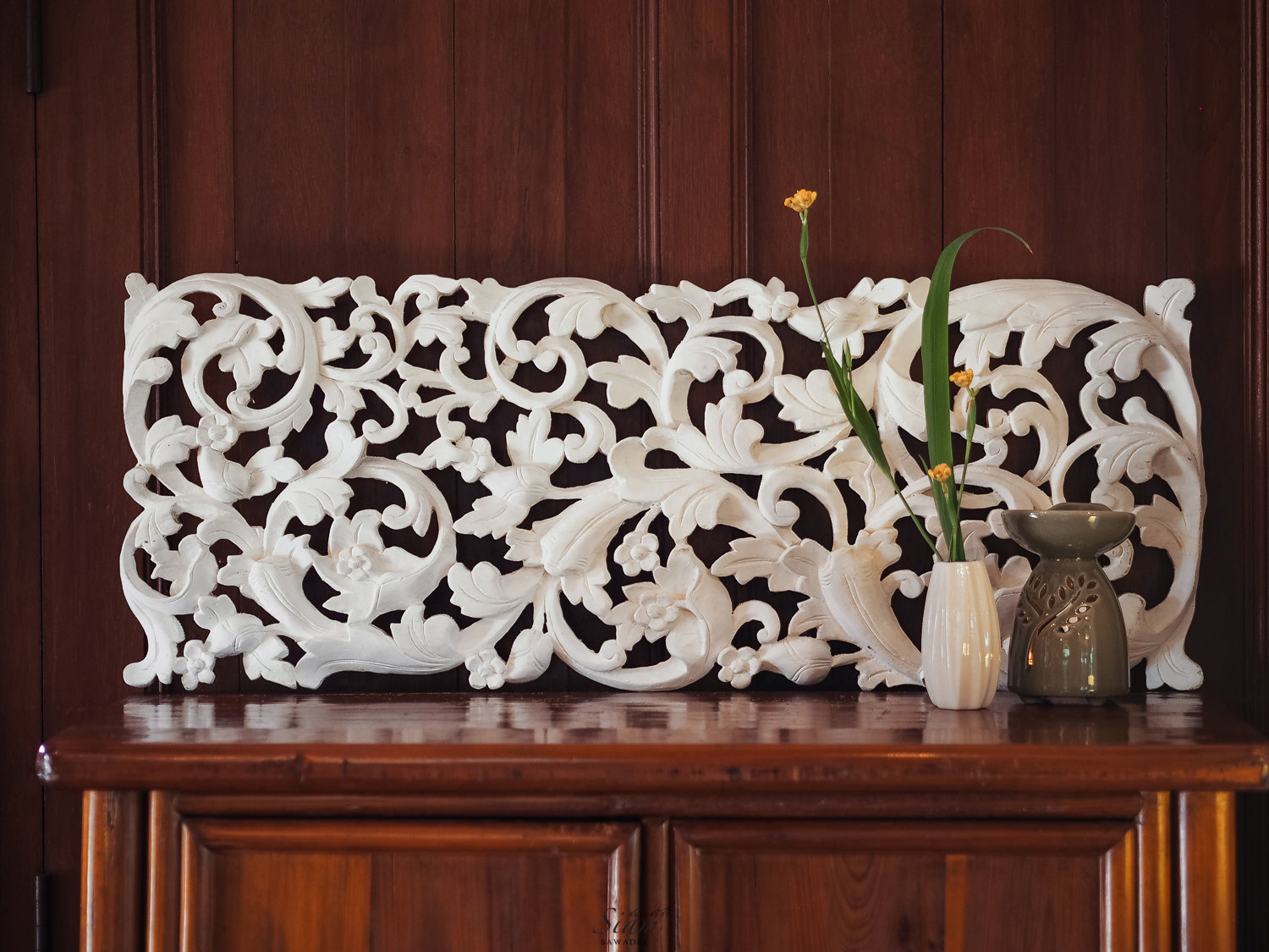 Wood Decorative Wall Art Buy Tropical Floral Curving Wooden Carving Wall Hanging Online