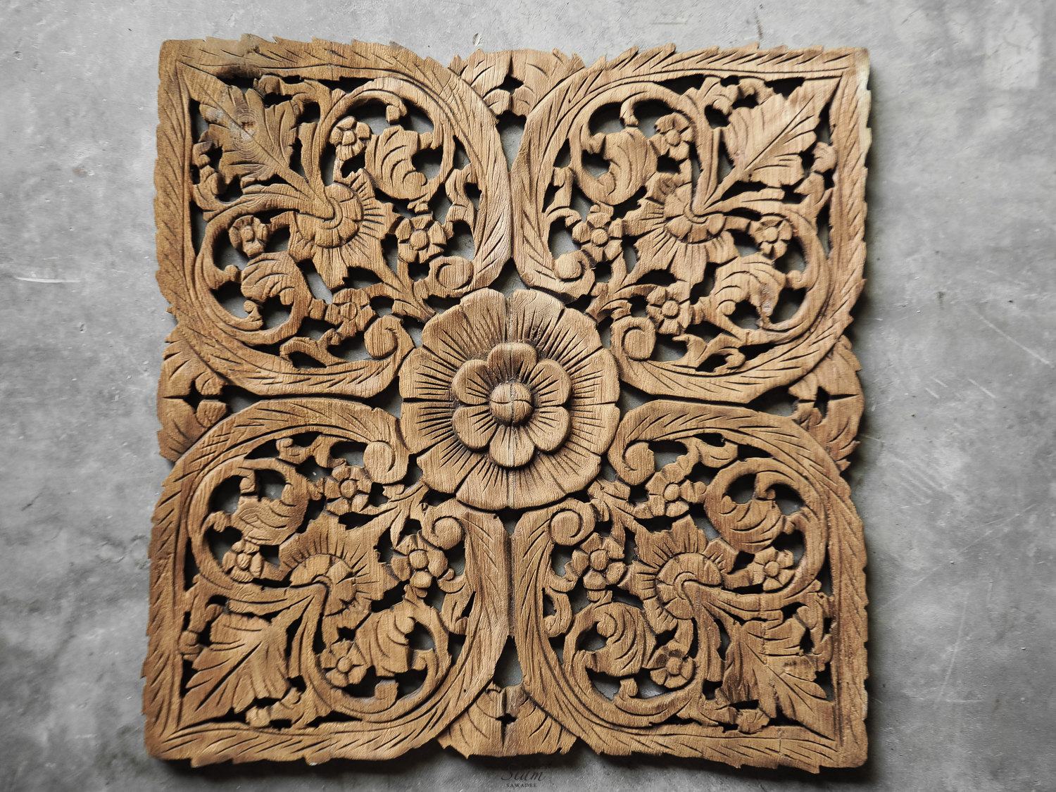 Carved Wood Wall Hanging Buy Thai Oriental Lotus Carved Wood Wall Art Decor Online