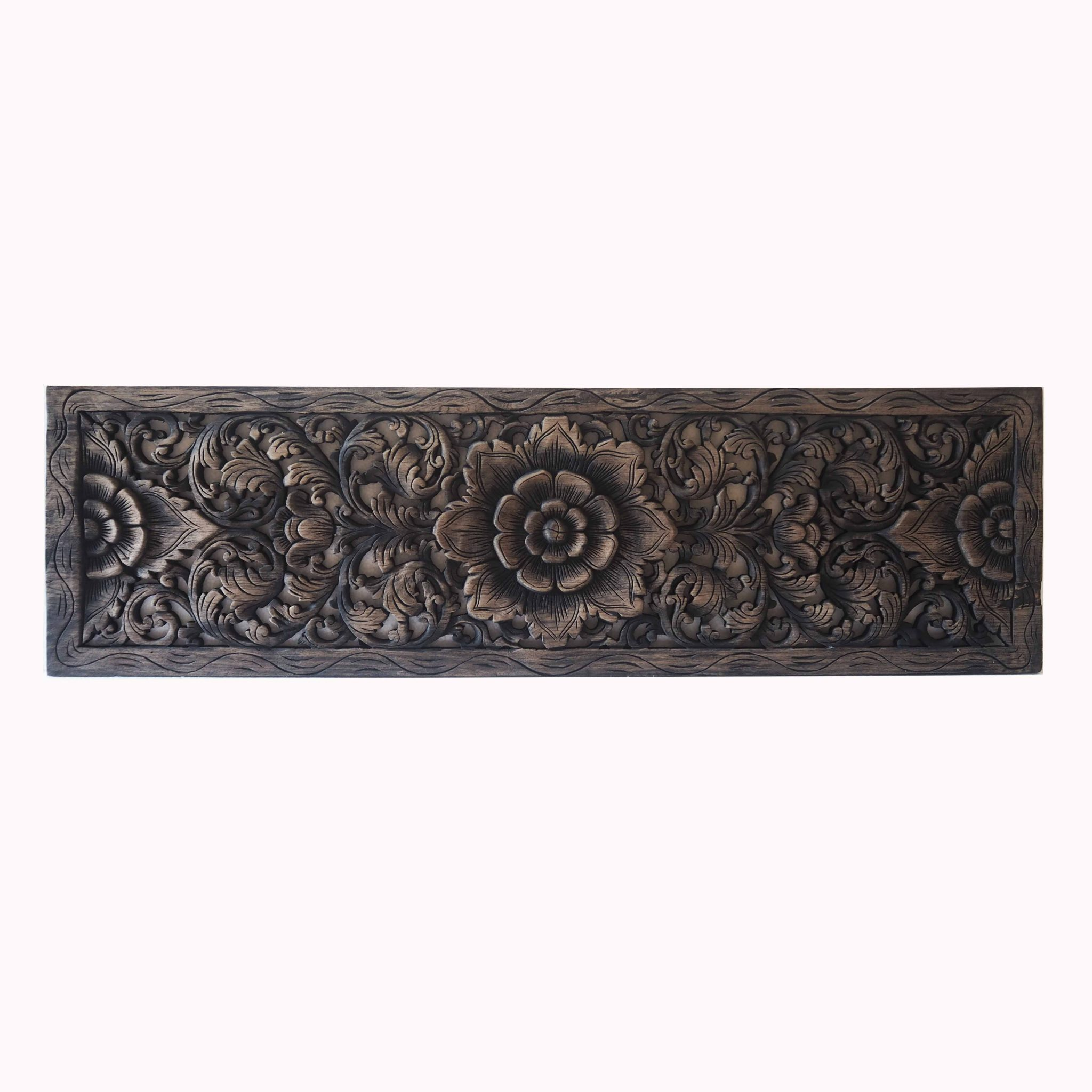 Wall Decor Wood Panel Buy Thai Lotus Wood Carving Wall Art Panel Online