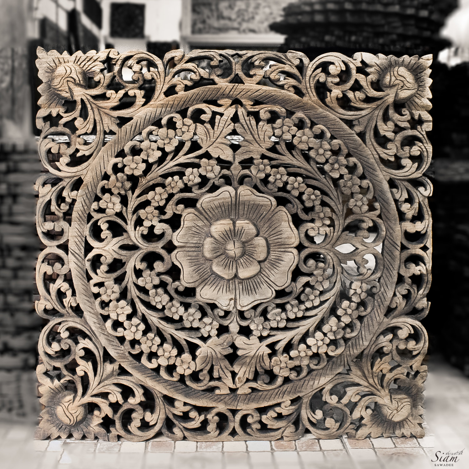 Carved Wood Wall Hanging Thai Motif Floral Carved Wood Wall Hanging Siam Sawadee