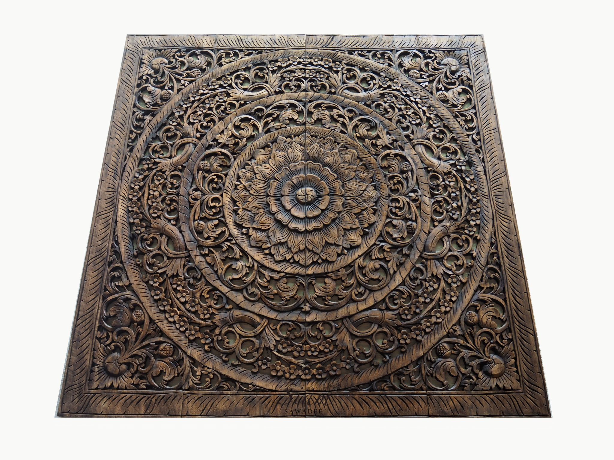 Wall Decor Wood Panel Grand Carved Teak Wood Wall Art Panel Plaque Decor